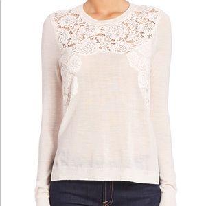 Rebecca Taylor Placed Lace Cream Pullover Sweater